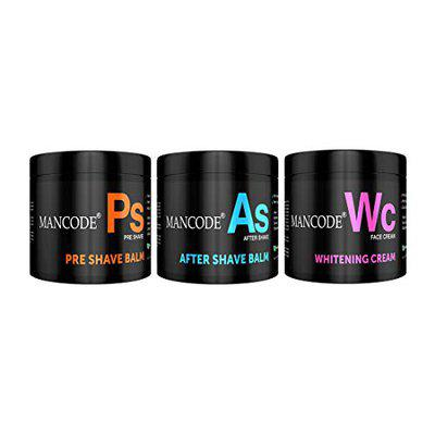 Mancode Grooming Essentials, Pre Shave Balm + After Shave Balm + Whitening Cream to give Luxury Grooming Experience, 100gram Each Balm and Cream formulated for Men by Mancode Combo of 3