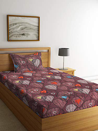 NEUDIS by Dhrohar Cotton 180 TC Printed Flat Floral Single Bedsheet with 1 Pillow Cover - Dark Brown - Size - 150 X 254 Cms