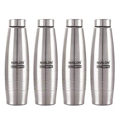 NIRLON Stainless Steel Water Bottle, 1000mg, Pack of 4, Silver
