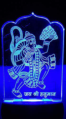 Alex The Hanuman ji 3D Illusion Multicolour Night Lamp with 7 Color Changing Light for Gift,for Bedroom,Living Room Led Acrylic Night lamp with Plug
