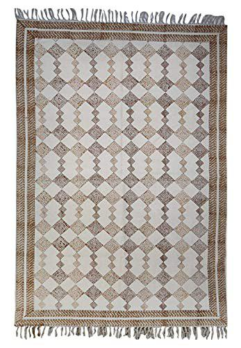 Trance Home Linen Cotton Printed Dhurrie Rugs for Living Room | Carpet Rug Runner | Floor Mat for Bedroom Kitchen (Brown Abstract