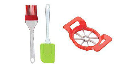 Kamview Combo of Apple Cutter Slicer with Cooking Spatula and Oil Brush for Kitchen (Pack of 3, Multicolour)