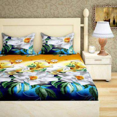 Ispace 144 TC Microfiber Double 3D Printed Bedsheet (Pack of 1, Multicolor)