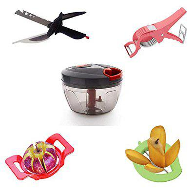 BJ TOYS Combo of Quick Chopper,4 in 1 Clever Cutter,2 in 1 Vegetable Cutter, Deluxe Apple Cutter, Premium Mango Cutter (Pack of 5, Multi Color)
