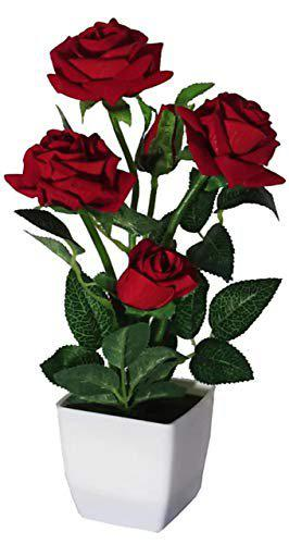 Siddhivinayak Artificial Red Rose Flower with Fiber Pot for Decoration in Office, House, Hotel and for Gift Purposes. Length 12 cm.