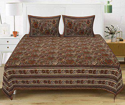 TEXSTYLERS 100% Cotton Jaipuri Print Queen Size Bedsheet with 2 Pillow Covers