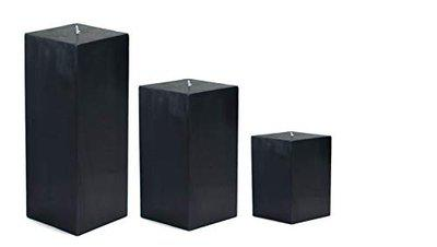 AtorakushonSmokeless Scented Paraffin Wax Set 3 Black Square Cube Pillar Candle for Party,Birthday Party,Dinner Table, Living Room