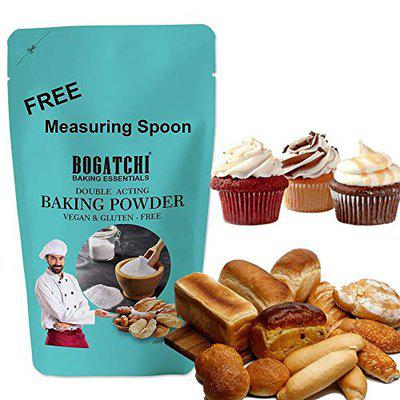 BOGATCHI Double Acting Baking Powder for Making Cake, Breads, Pizza, Muffins, Dhokla, Idlis, Naans - Double Acting Baking Soda, Cooking Soda |Baking Ingredients , 200g , Free Measuring Spoon