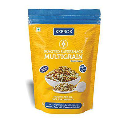 Keeros Multigrain Healthy Super Snack | Ready to Eat, Tasty, High Fibre, Low GI Healthy Mix of Roasted Pearl Millets & 5 Super Grains | Snacks for Weight Loss | 400g