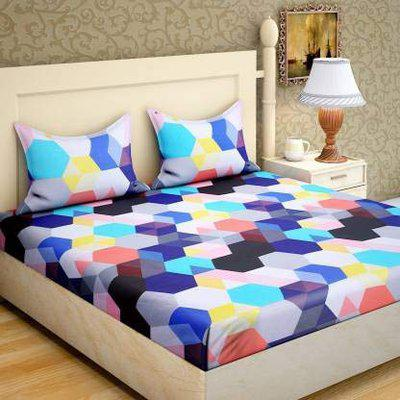 PRIDHI 180TC Pure Glace Cotton Double Bedsheet with 2 Pillow Cover Design 17