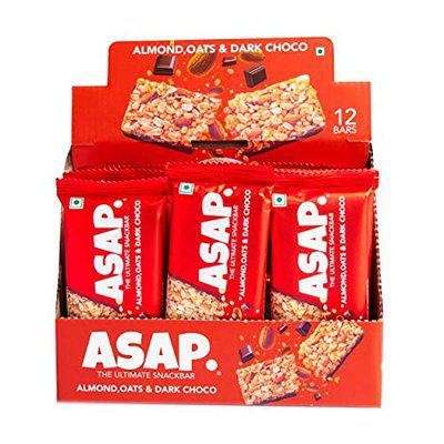 ASAP Energy Bars - 12 Bars, Healthy Protein Bars with Dark Choco, Rolled Oats and Almonds - High Fiber, On-The-Go, Chewy Snack Bars (35 G Each)