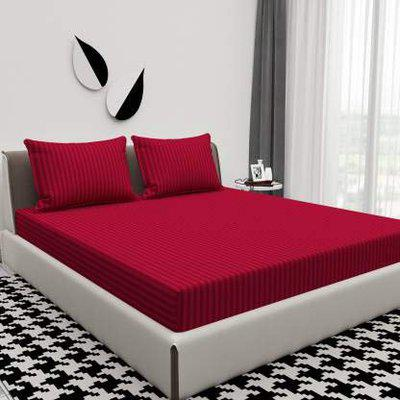 Divine Homes Premium Embossed Microfiber Solid Color Striped Double Bed Sheet with 2 Large Size Pillow Covers; Red Wine ; 90x90 inches and 17x27 inches Pillow Covers; Red