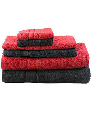 SWHF Chic Home Premium Solid Soft Cotton, 550 GSM Cotton| Light Weight | Quick Dry | Towels - (75*150cms), Hand Towel (40*70) and Face Towel (30*30 cms) Bath Set & Combo | Machine Washable | Pack of 6