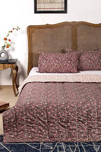 Contrast Living Mayuri Reversible Cotton Rotary Printed Double Bed Quilt / Blanket / Comforters Quilts with 2 Pillow Cover ( Multi Colour , 220x240 cm / 86 x94 Inch )