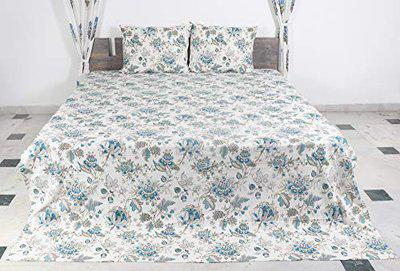 100 % Cotton King Size (108 x 90 in.) Dyed Hand-Block Print Bed-Sheet with Same 2 Pillow Covers