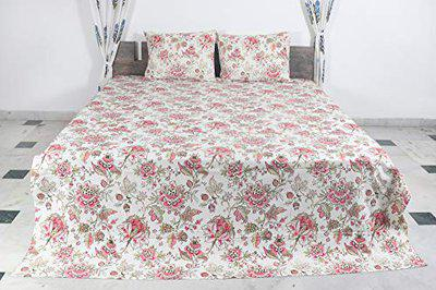 Bhavya International Pure Cotton King Size (108 x 90 in) Dyed Hand-Block Print Bed-Sheet with Same 2 Pillow Covers