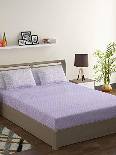Swayam Pastel Vogue 210 TC,100% Cotton Blue Off White Geometric 1 Double Bedsheet with 2 Pillow Covers