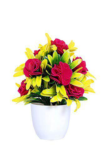 BP-Artificial Plants with Pot for Desk Artificial Flowers with Pot   Artificial Multicolor Plants   Artificial Plants for Home Decoration (Pack of 1, Red Rose)