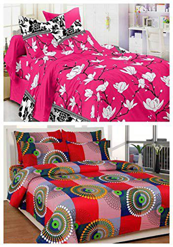 WI International Polycotton Double Bedsheet Money Saver Combo Set of 2 with 4 Pillow Cover (Combo12)