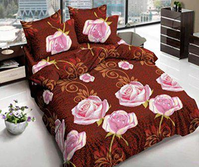 Home Solution bedsheet for Double Bed Cotton, bedsheet for Living Room, Double bedsheet with 2 Pillow Cover. (230 x 250 cm) (Rose-Brown)