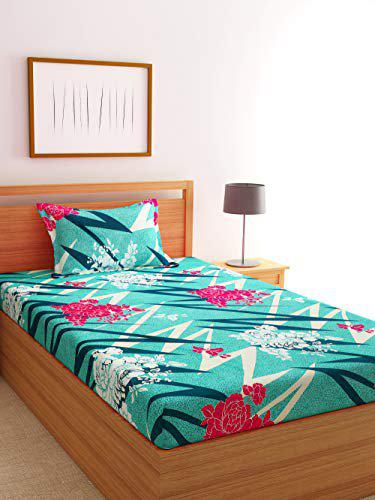 Florida Polycotton 120 GSM Single Bedsheet with 1 Pillow Cover (Sea Green, 155x224 cm)