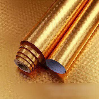 EVER MALL 3 Meter Kitchen Golden Oil Proof Waterproof Paper Aluminum Foil Backsplash Sticker Stove Cabinet Liner Decor Self Adhesive Wallpapers (L-300 x W-60)