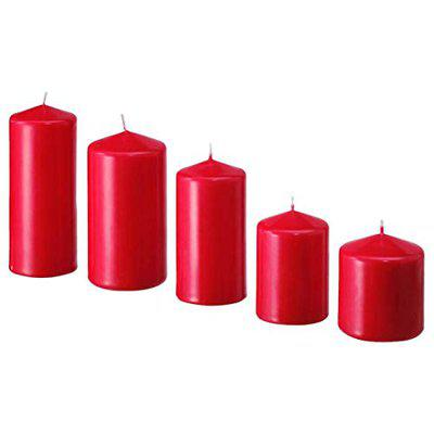IKEA Unscented Block Candle, Set of 5, Red