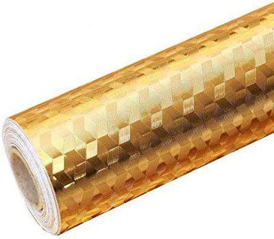 Inllex 5M/Roll Kitchen Backsplash Background Self-Adhesive Aluminum Foil Sticker Oil-Proof and Waterproof Kitchen Sticker