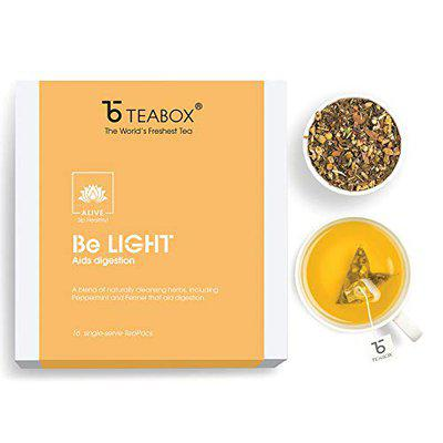 TEABOX BE LIGHT Wellness Tea for Improved Digestion | Made with Peppermint, Fennel and Exotic Ayurvedic Herbs | 0 Caffeine | 16 Pyramid Tea Bags