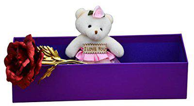 Sauagt Traders Artificial Red Rose-Soft Teddy-Gift for Your Love
