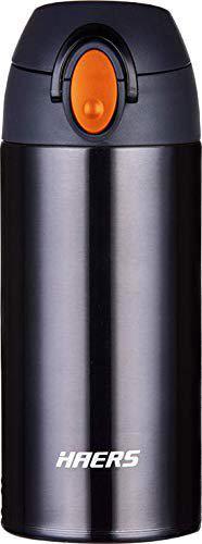 Haers Korean Posco 18/8 Stainless Steel Super Light Vacuum Tumbler Bottle For Office, Capacity 350 ML Black