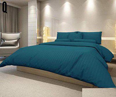 FRIMERR Microfiber Silky Soft Premium 100 Cotton Solid King Size Large Bedsheet for Double Bed Cover with 2 Pillow Covers Softest - Blue