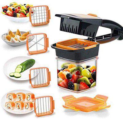 VM 5 in 1 Multifunction Vegetable Cutter Manual Vegetable Quick Dicer Fruit Chopper Slicer Non-Skid Base Slicer and Chopper