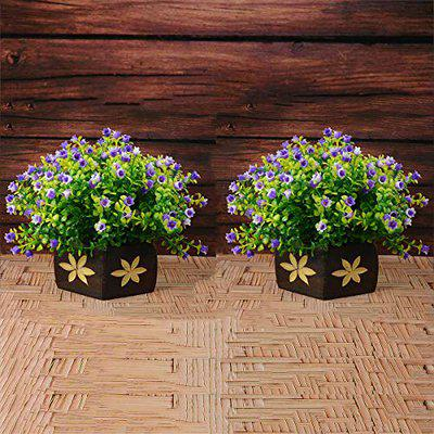 Reiki Crystal Products Beautiful Artificial Plants with Pot | Bonsai Plant and Tree | Bonsai Tree for Indoor with Wooden Pot for Office Home Decor Showpiece. (Pack of Combo 2 pc)