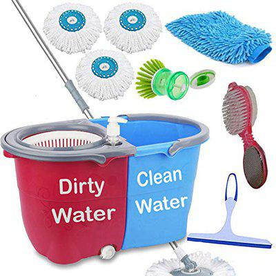 V-Mop Jumbo Twin Double Bucket Mop - 360 Degree Self Dry Spin Magic Cleaning Mop for Home and Office Floor-DJG104
