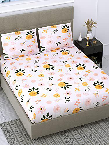 Dream Weaverz Attractive Floral Design Double Bed Soft Cotton Bedsheet (235 x 255 cm) with 2 Pillow Covers (75 x 55 cm) for Home Bedroom | Light Pink (DQ54)