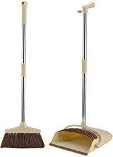 Lemish Brush Long Handled Sweeping Folding Cleaning Standing Upright Dustpan with Broom, Cleaning Set for Home Kitchen Room Office