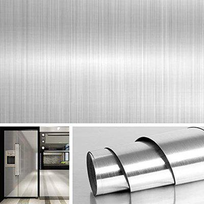 Kitchen Sticker Backsplash Wall Paper Oil Proof Silver Self-Adhesive Protective Sticker with The Texture of Orange Peel