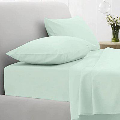 Pizuna Cotton 400 Thread Count Solid Aqua Mint 100% Long Staple Cotton Satin Double Size Bed Sheet with 2 Pillow Covers