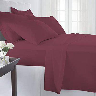 Pizuna Cotton 400 Thread Count Solid New Burgundy 100% Long Staple Cotton Satin Queen Size Bed Sheet with 2 Pillow Covers
