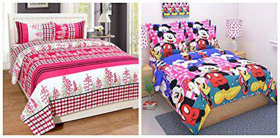WI International Polycotton Double Bedsheet Money Saver Combo Set of 2 with 4 Pillow Cover (combo-15)