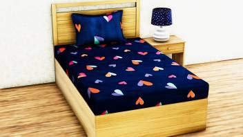 Genius Homes Single Bedsheet with One Pillow Cover (Heart Blue)