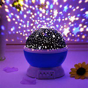 GLOWTRONIX Romantic Sky Star Master Night Projector Lamp with USB 9 Colour 4 LED Rotation(Blue)