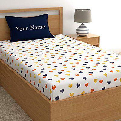 Dreamscape Customized Heart Print Kids bedsheet for Single Bed 100% Cotton , Customize Your Kids Name on Pillow Cover (4.8ft x 7.3ft)