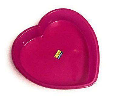 DiBha Silicon Cake Pan Mould, Heart Shape, Random Colour (Diameter 22cm 4.5cm Depth)