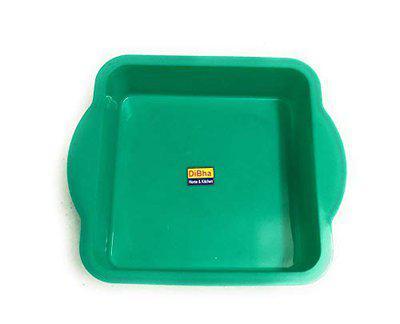 DiBha Silicon Cake Pan Mould, Square Shape, Random Colour (Diameter 18cm with 4.5cm Depth)