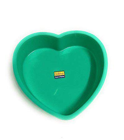 DiBha Silicon Cake Pan Mould, Heart Shape, Random Colour (Diameter 20cm with 4.5cm Depth)
