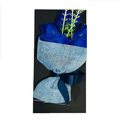 Toniry Artificial Natural Looking Roses Hand Bouquet (5 Blue Roses) Blue Rose Artificial Flower (8 inch, Pack of 1)