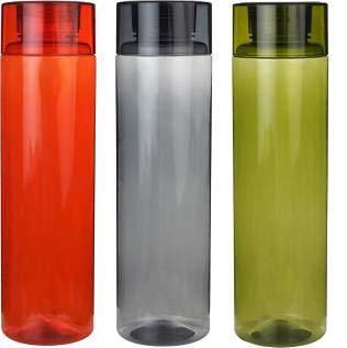 Skyzone Multicolor Unbreakable Plastic Fridge, School, Office, College Water Bottle 1 Litre (Pack Of 3)