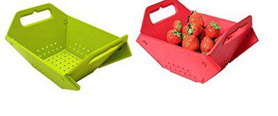 Rays Plastic Flat Folding 3 in 1 Chopper Board, Washer, Storage Basket for Fruits and Vegetables Multi Colour